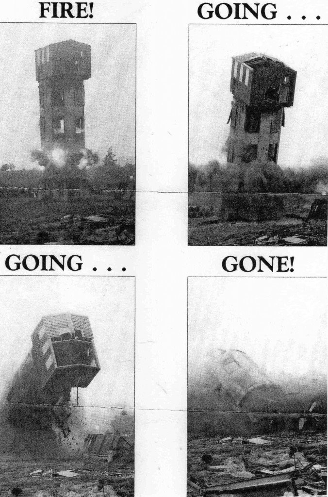 R.O.M. cascade tower at High Moor Colliery being demolished - 1st June 1994.