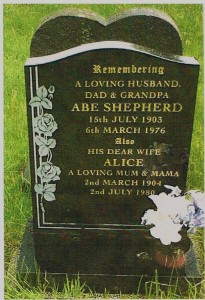 Abe Shepherd and Alice Shepherd (nee Mallinder) - grave in St Giles cemetry