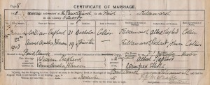 William and Amelia's wedding certificate