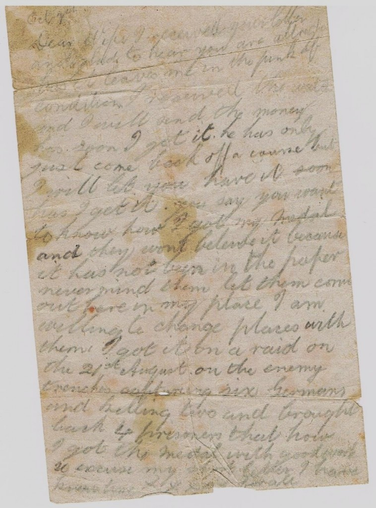 Original Letter from the trenches during W.W.1 It tells how William Shepherd won his Military Medal