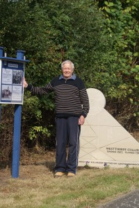 David Brocklehurst at the Westthorpe Pit memorial - September 2014. Photo courtesy of Tony Ward.