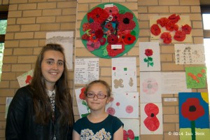 Danielle and Megan Back at the KHS Poppy Exhibition to mark the centenary of World War I.  See note below.